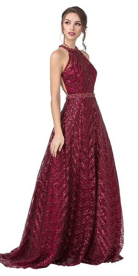 Halter Sequins Long Prom Dress with Open-Back Burgundy