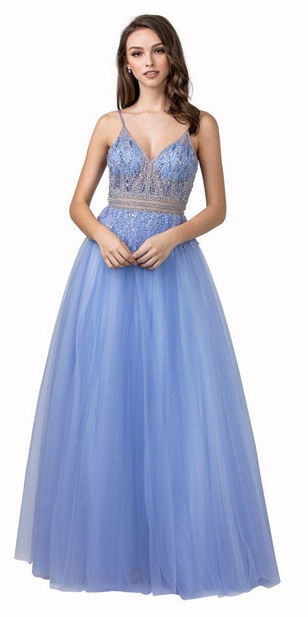 Beaded V-Neck and Back Long Prom Dress Perry Blue