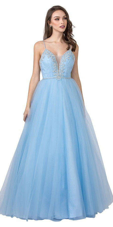 Embellished Prom Ball Gown with Spaghetti Straps Ice Blue