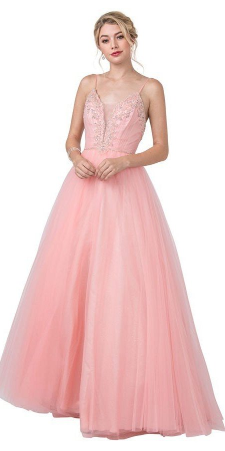 Embellished Prom Ball Gown with Spaghetti Straps Pink