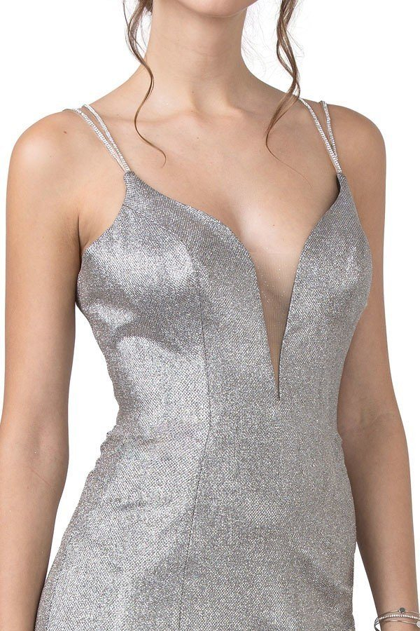 Champagne/Silver Cut-Out Back Long Prom Dress with Slit