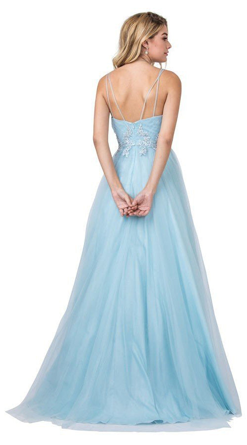 Ice Blue Long Prom Dress with Appliques and Slit