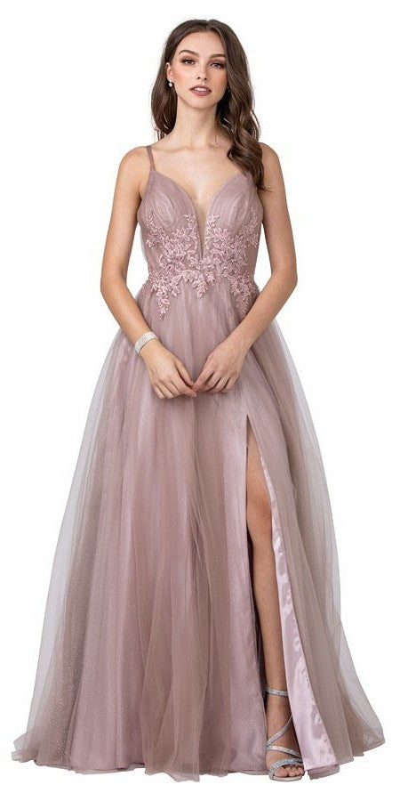 Mauve Long Prom Dress with Appliques and Slit