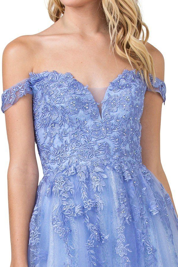 Off-Shoulder Long Prom Dress Lilac with Lace-Up Back