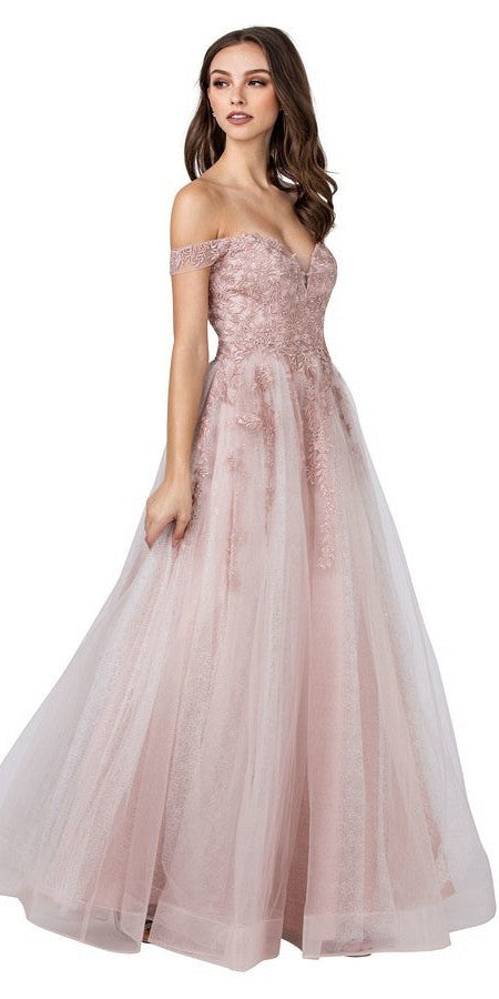 Off-Shoulder Long Prom Dress Mauve with Lace-Up Back