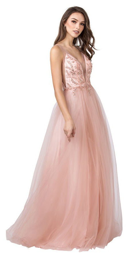 Blush Long Prom Dress with Embellished Bodice