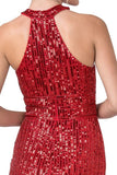 Red Halter Sequins Long Prom Dress with Keyhole
