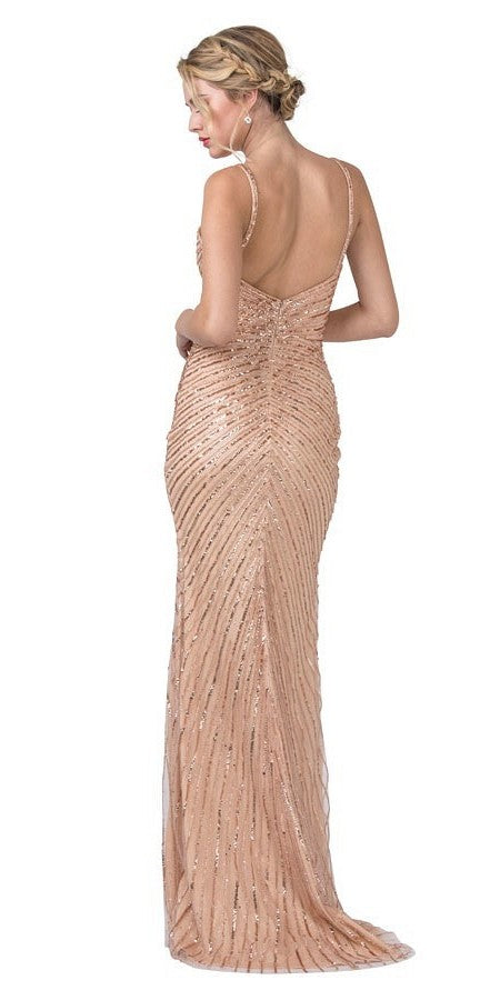 Rose Gold Sequins Long Prom Dress with V-Neck and Slit