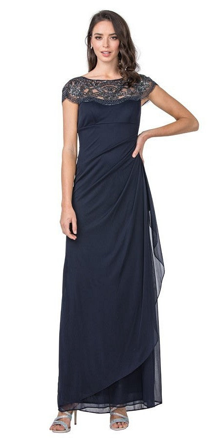 Navy Blue Long Formal Dress with Sequins Applique Neckline