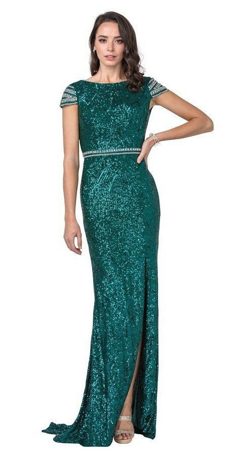 Emerald Green Long Prom Dress with Beaded Cap Sleeves