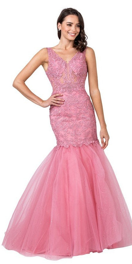 Misty Rose Appliqued Mermaid Long Prom Dress