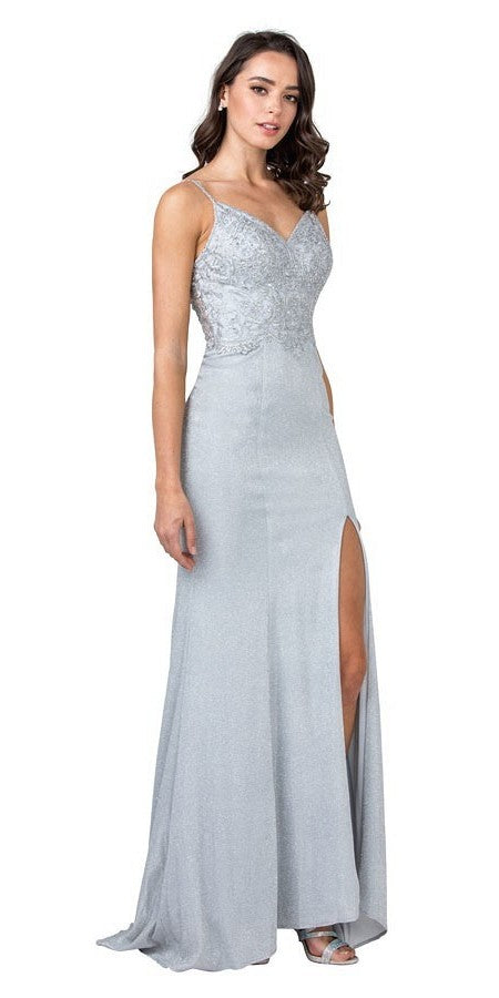 Silver Appliqued Bodice Long Prom Dress with Slit