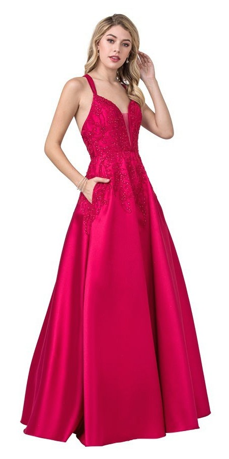 Embroidered Long Prom Dress with Pockets Magenta