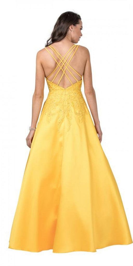 Embroidered Long Prom Dress with Pockets Marigold