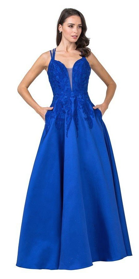 Embroidered Long Prom Dress with Pockets Royal Blue