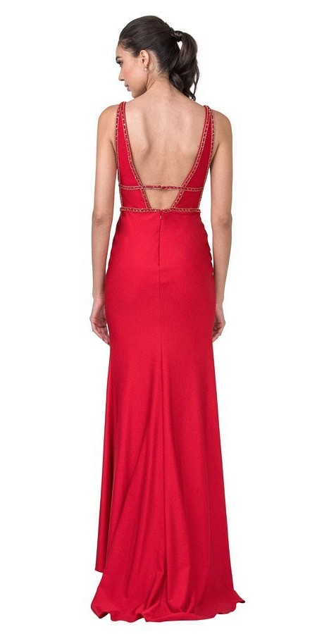 Beaded Red Long Prom Dress with Cut-Out and Slit