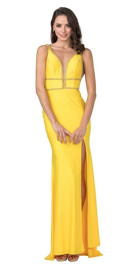 Beaded Yellow Long Prom Dress with Cut-Out and Slit