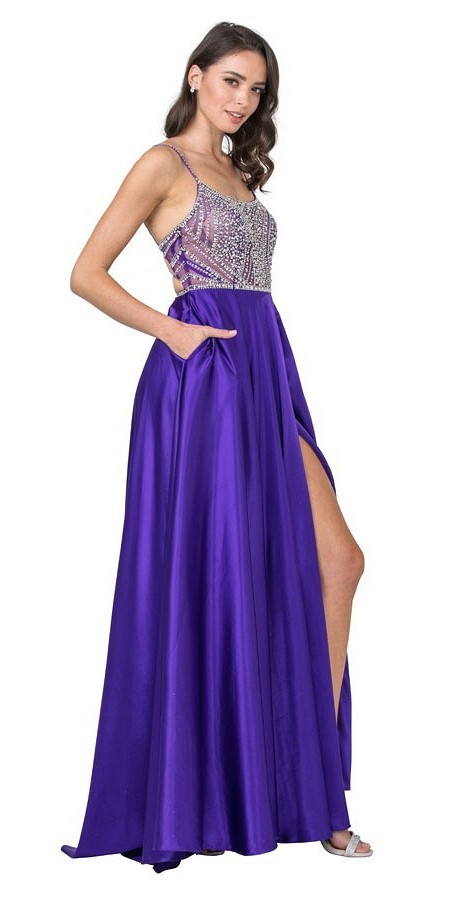 Purple Beaded Long Prom Dress Cut-Out Back with Pockets
