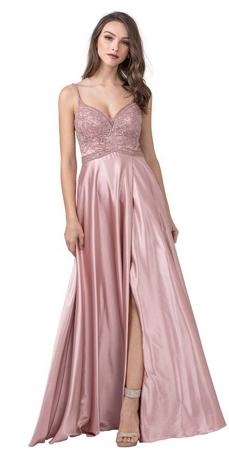 Dusty Blush Beaded Long Prom Dress with Cut-Out Back and Slit