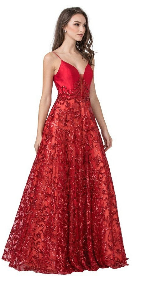 Red Lace-Up Back Sequins Long Prom Dress