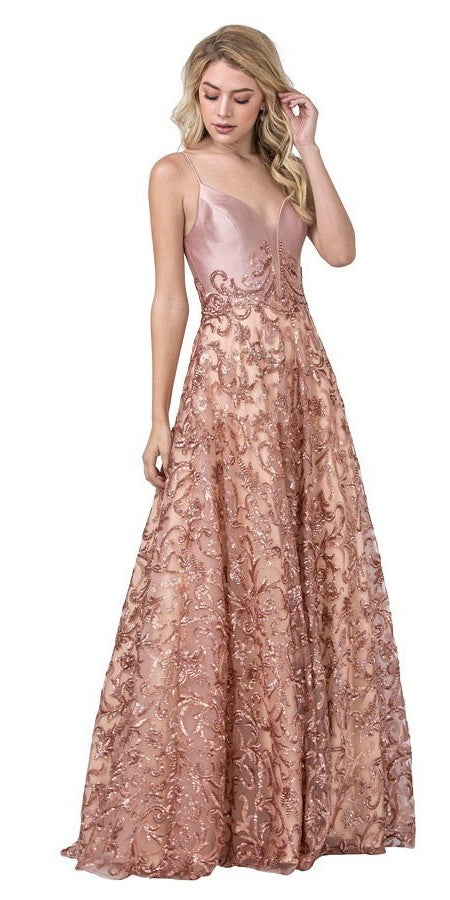 Rose Gold Lace-Up Back Sequins Long Prom Dress