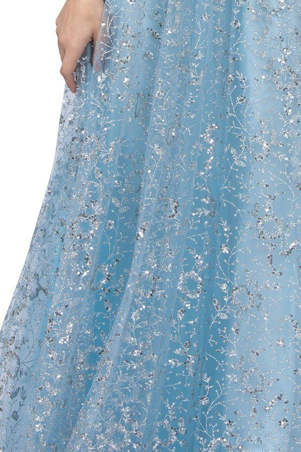 V-Neck and Back Sequins Long Prom Dress Ice Blue