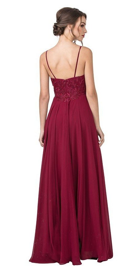 Embroidered Long Prom Dress with Spaghetti Strap Burgundy