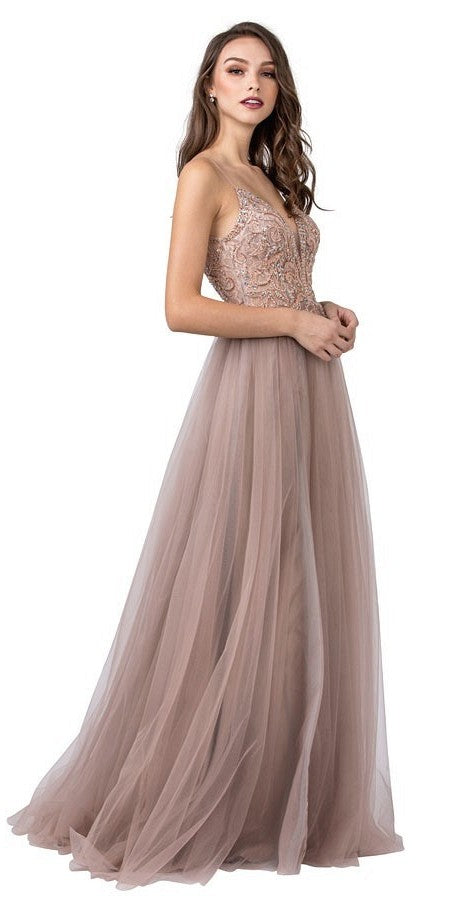 Mauve Beaded Long Prom Dress with Open V-Back and Slit