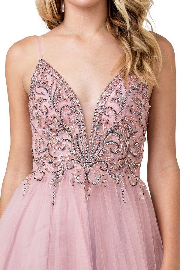 Pink Beaded Long Prom Dress with Open V-Back and Slit