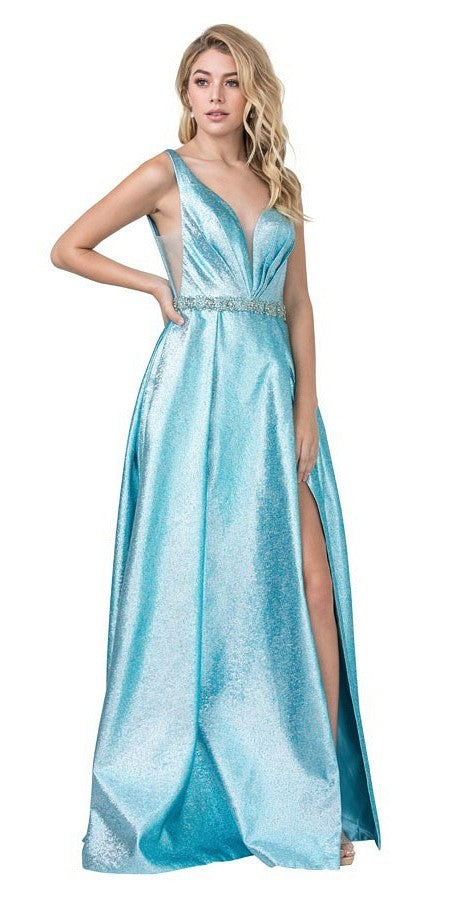 Ice Blue Metallic Long Prom Dress with Pockets and Slit