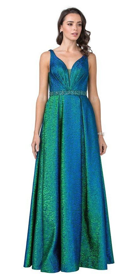 Peacock Metallic Long Prom Dress with Pockets and Slit