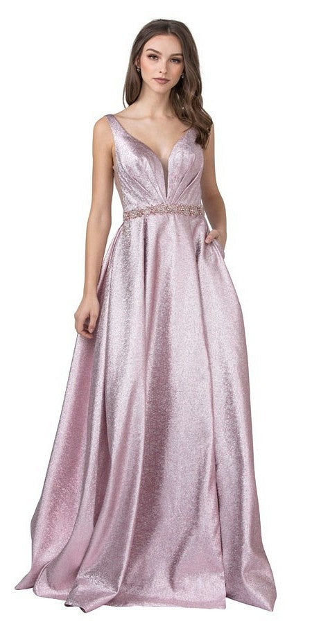 Pink Metallic Long Prom Dress with Pockets and Slit