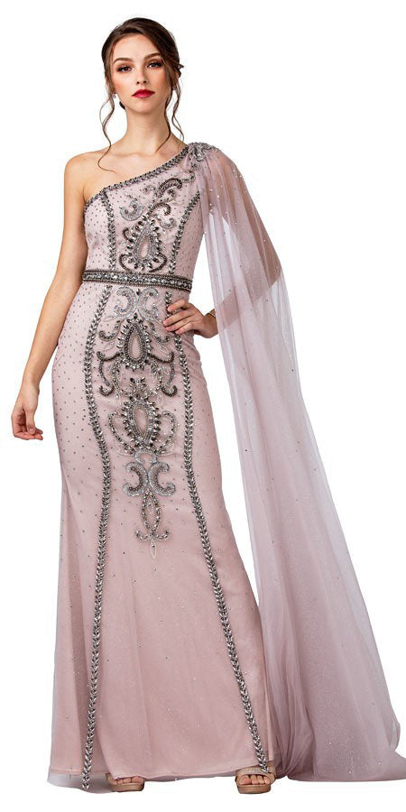 One-Shoulder with Cape Long Prom Dress Mauve