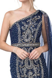 One-Shoulder with Cape Long Prom Dress Navy Blue