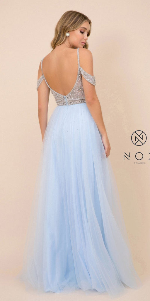 Blue Long Prom Dress with Illusion Embellished Bodice