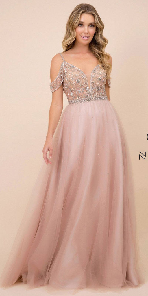 Tan Long Prom Dress with Illusion Embellished Bodice