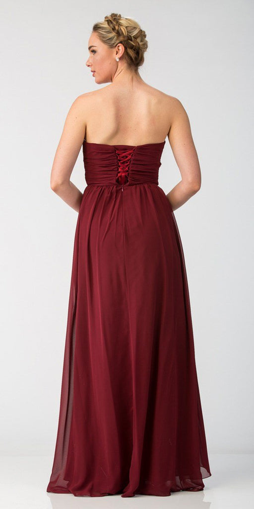 Starbox USA L6074-1 Long Strapless Chiffon Bridesmaid Dress Burgundy Back View