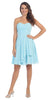 Starbox USA S6074 Sweetheart Pleated Bust Drape Skirt Light Blue Above-Knee Dress Strapless