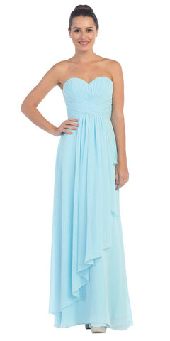 Starbox USA L6074-1 Long Strapless Chiffon Bridesmaid Dress Silver