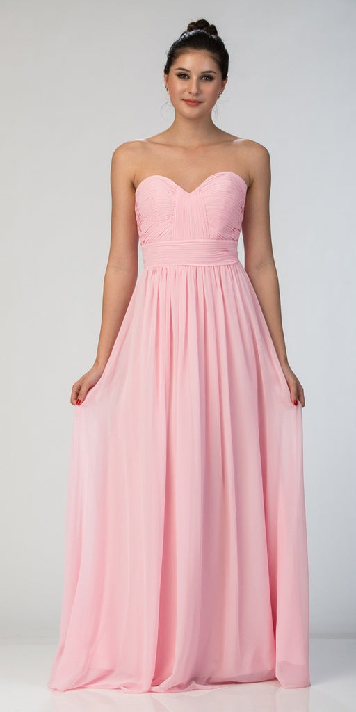 Starbox USA L6095 Ruched Bodice Strapless Chiffon Piink A-line Long Bridesmaids Dress