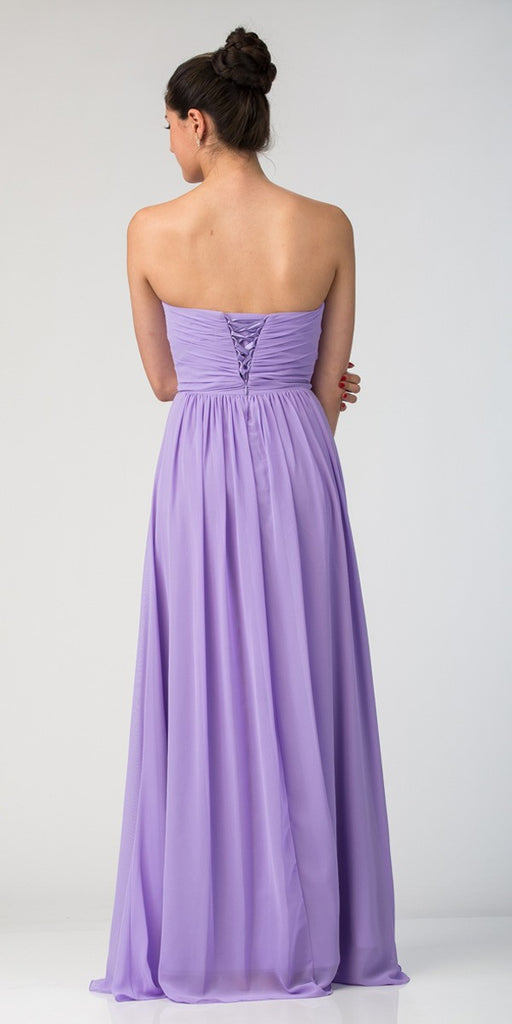 Starbox USA L6095 Ruched Bodice Strapless Chiffon Lilac A-line Long Bridesmaids Dress Back View