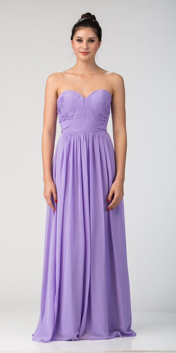 8d4a9f5e969f Starbox USA L6095 Ruched Bodice Strapless Chiffon Lilac A-line Long  Bridesmaids Dress