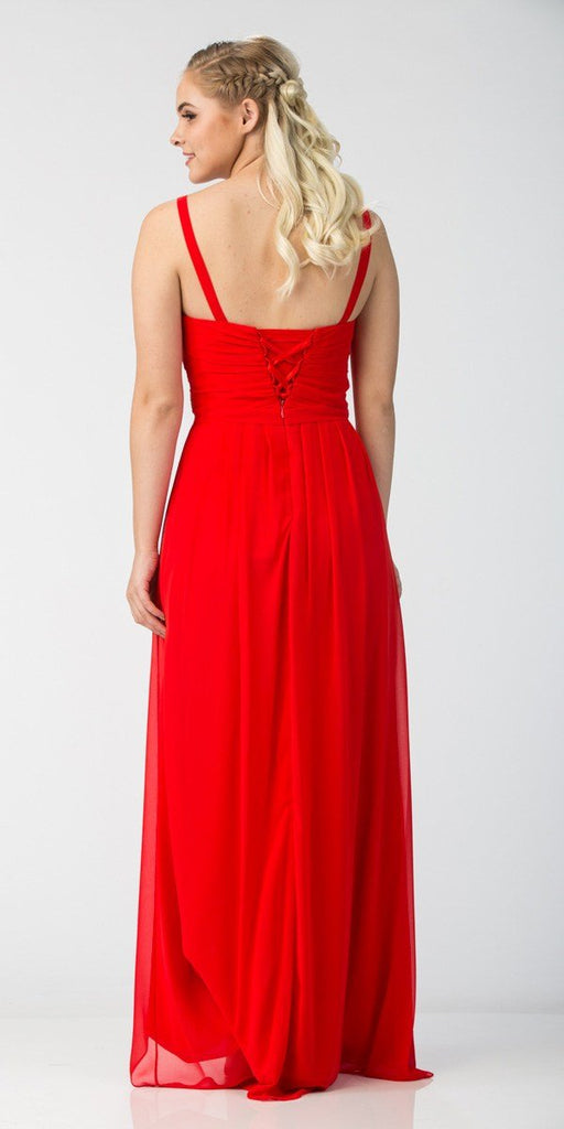 Starbox USA L6096 Knee-high Slit Waterfall Red Beach Wedding Thin Strap Dress Back View