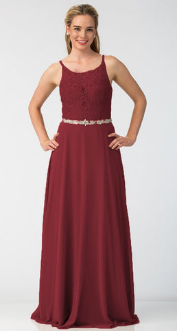 A-Line Chiffon Long Formal Dress Burgundy Lace Bodice Rhinestone Waist