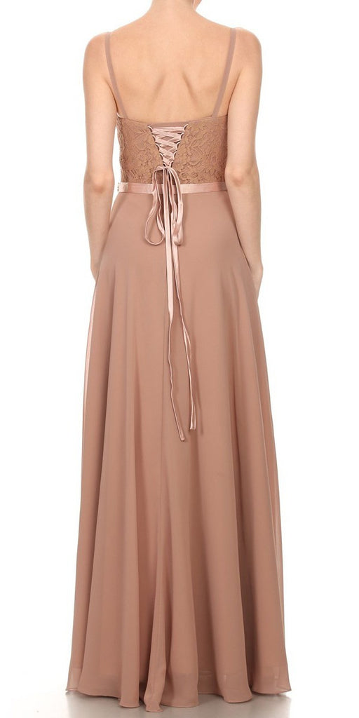 A-Line Chiffon Long Formal Dress Mocha Lace Bodice Rhinestone Waist Back
