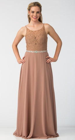 A-Line Chiffon Long Formal Dress Mocha Lace Bodice Rhinestone Waist