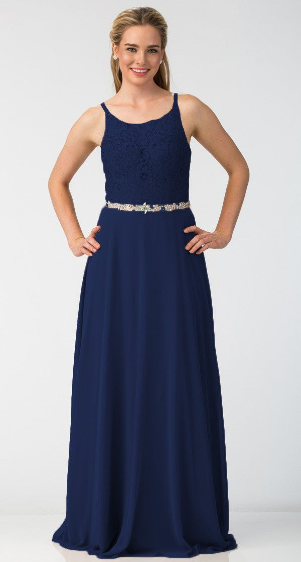 A-Line Chiffon Long Formal Dress Navy Lace Bodice Rhinestone Waist