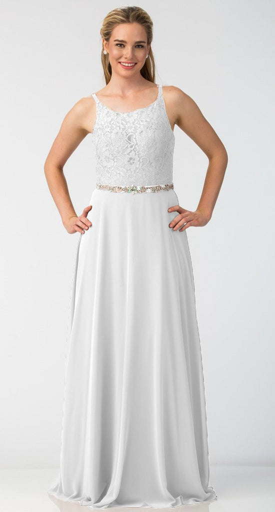 A-Line Chiffon Long Formal Dress Off White Lace Bodice Rhinestone Waist