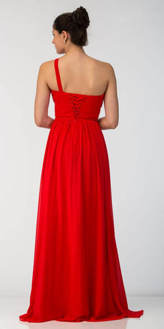Starbox USA L6163 One Shoulder Floor Length Formal Dress Red Back View