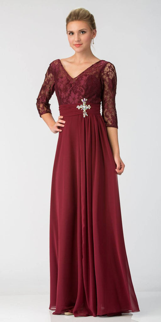Burgundy Mid-Length Sleeves Long Formal Dress V-Neck